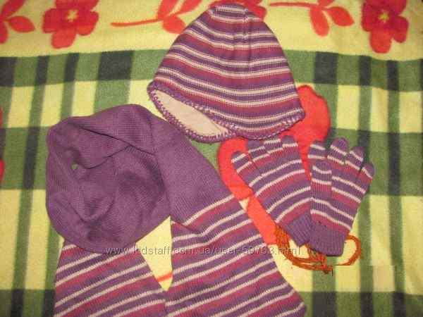 Набор шапочка перчатки и шарфик