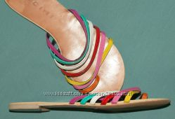 яркие шлепки кожа  Италия на узкую ногу   24-24, 3 см