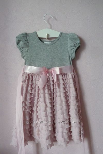Красивое платьице - нежные оборочки и банты 4-5  лет