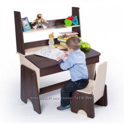 Регулируемые парта с полками и стул для школьника