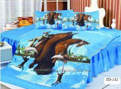 Детское полуторное постельное белье ELWAY сатин 3D lux Польша