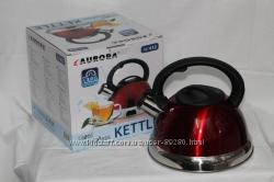 Чайники со свистком Aurora эмалированные и из нержавейки