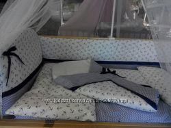 Детское постельное белье в кроватку из 9 ед. Морячек  конверт на выписку