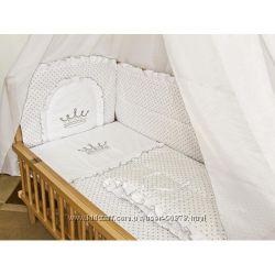 Детское постельное белье в кроватку Вышивка корона