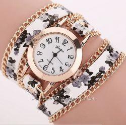 Дизайнерские часы-браслет Geneva с цветочным принтом