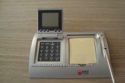 Часы-будильник WORLD TIME с калькулятором, комплектом стикеров и ручкой
