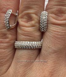 Супер комплект. Серебряные серьги и кольцо.