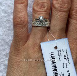Серебряное кольцо 2в1. Родий. Супер цена.
