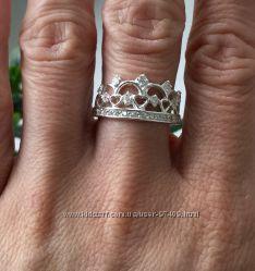 Серебряное кольцо-корона. Р.  16 и 18