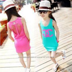 Летнее платье трапеция для девочки Коко Шанель бирюза и розовое