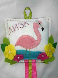 Органайзер для заколок, обручей и резинок  Розовый фламинго