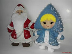 Дед Мороз и Снегурочка. Новогодние игрушки из фетра