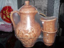Новый керамический, глиняный набор кувшин и 2 стакана.