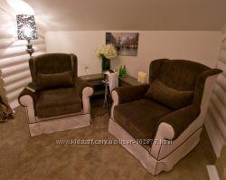 Комплект кресло и диван для каминной, ресторана, бани, комнаты отдыха