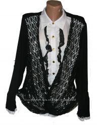 блуза с трикотажной спинкой -54р -полномерный