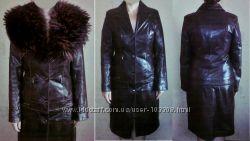 Пальто-куртка из натуральной кожи с шикарным мехом