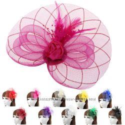 Винтажный обруч, заколка, шляпка с кружевами и перьями, разные цвета