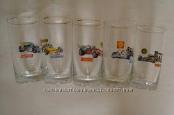 Набор стаканов с изображением гоночных машин