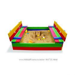 Деревянная песочница 150х150см Со скамейками, крышей, складываются. Разные