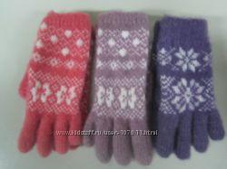 Продам рассказовские шерстяные перчатки для девочки машинной вязки