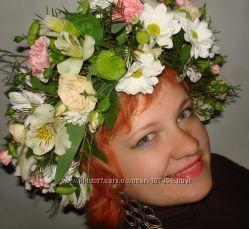 Венок на голову из живых цветов, Киев