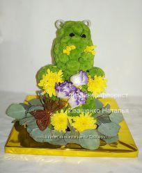 Игрушки из живых цветов, цветочный мишка