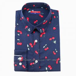 Блузки с принтом - кактус, звезды, цветы, вишни. Хлопок