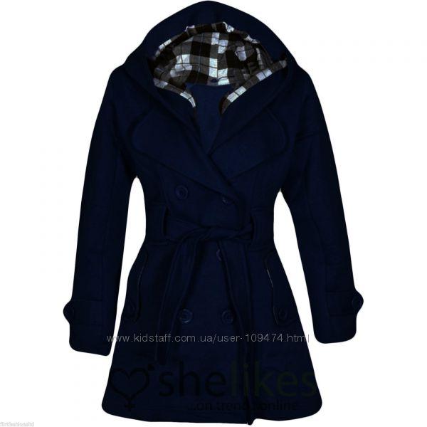 Пальто на флисовой основе размер М темно-синее с капюшоном остегивающимся