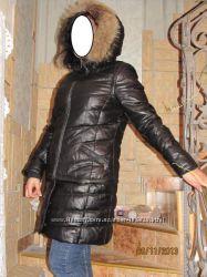 Натуральная кожа, пух - Трансформер курточка-жилетка-пальто