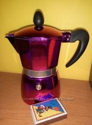 Кофеварка-эспрессо гейзер на 2 чашки розовая