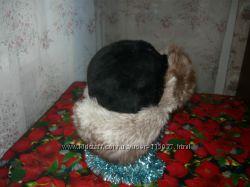 Шапка-ушанка комбинация песца с иск. черным мехом