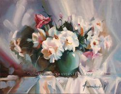 Картина маслом букет Белые цветы