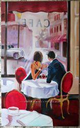 Большая картина кафе в париже, пара