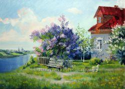 Картина маслом весна в деревне