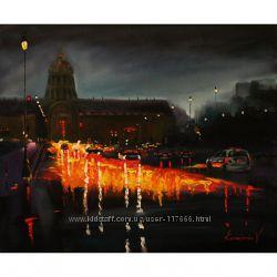 Картина маслом ночной город