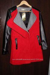 Cтильное пальто с кожаными рукавами. Новое