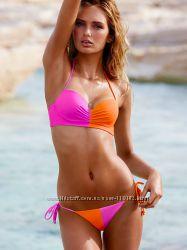 Яркий неоновый купальник розовый лотос-оранж victorias secret