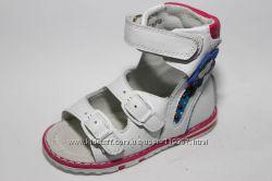 Детские ортопедические босоножки р. 21-26 девочкам кожаные белые высокие