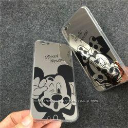 Зеркальный чехол на Iphone 5, 5s, 6, 6s c Минни и Микки