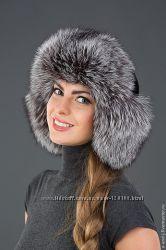Женская меховая ушанка из чернобурки