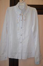 Катоновая белая школьная блузка, р. 158