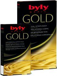 Восковые полоски для депиляции тела с золотом
