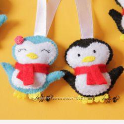 Пингвины из фетра на елочку