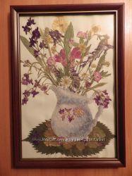 картина Летний натюрморт в японской технике прессованой флористики Ошибана
