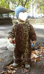 Флисовый комбинезон леопард