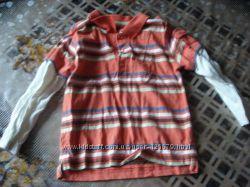 Реглан полосатый, футболка обманка, 86-92 см