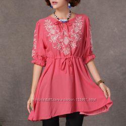 Женские вышитые блузки на лето, нарядные туники - купить онлайн недорого