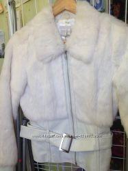 Куртка автоледи кожа белая, мех кролик, 4210 размер