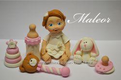 Сладкие фигурки на годик и крестины из мастики