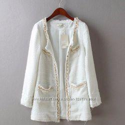 Кардиган-пальто с жемчужинками